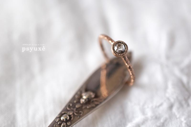 K18ピンクゴールドとローズカットダイアモンドのリング