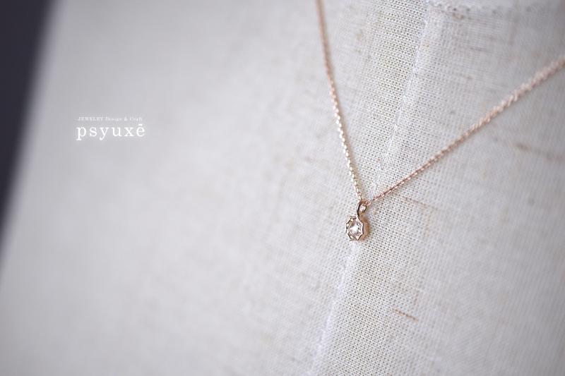 K10ピンクゴールドとローズカットダイアモンドのネックレス