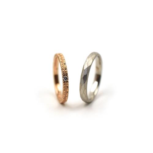 K18ピンクゴールドとダイアモンド、プラチナのマリッジリング