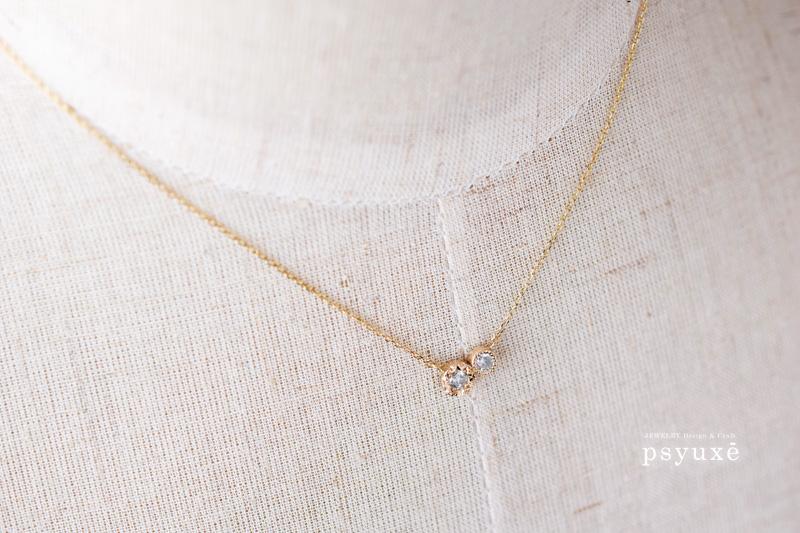 K10イエローゴールドとダイアモンドのアシンメトリーデザインネックレス