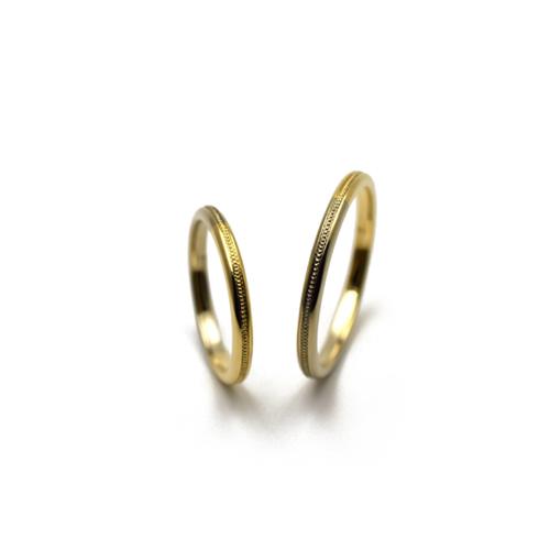 2色のゴールドを使用したオーダーメイド・マリッジリング