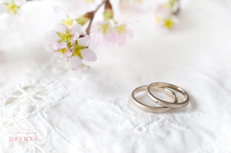 桜とダイアモンドのオーダーメイド・マリッジリング
