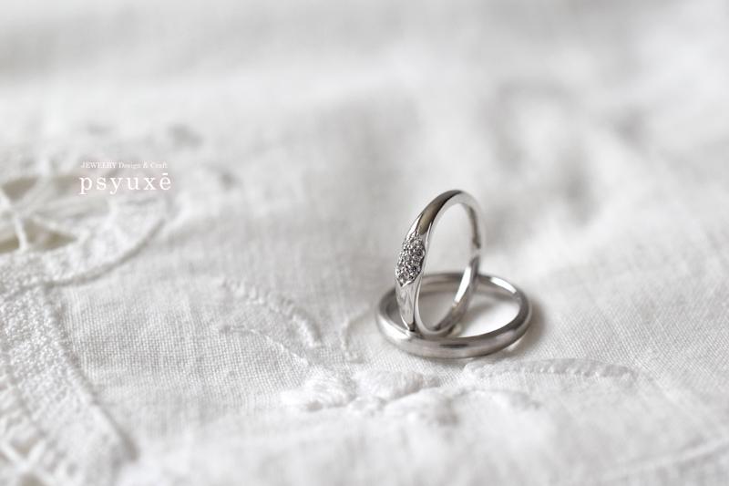 プラチナとダイアモンドのオーダーメイド・マリッジリング