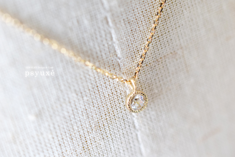 Rosecut Diamond, K18yellow Gold, Millegrain, Necklace