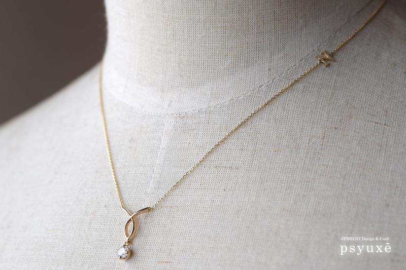 K10イエローゴールドとダイアモンドのオーダーメイド・ネックレス