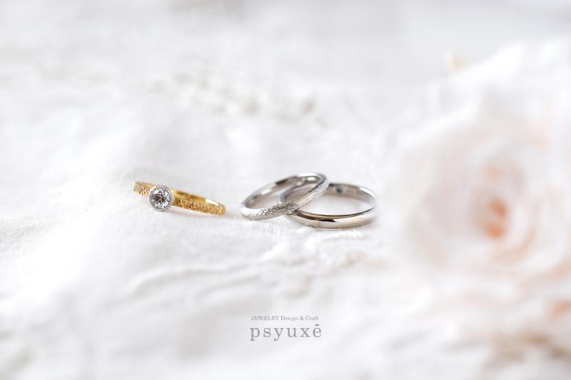 プラチナと誕生石とオリジナル刻印のマリッジリング*愛知県M様&N様