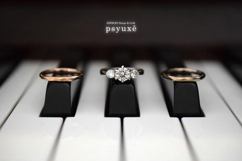 PT900&ダイアモンドのエンゲージリングとK18ピンクゴールドとK18シャンパンゴールドのマリッジリング