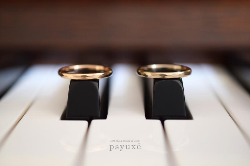 K18ピンクゴールドとK18シャンパンゴールドの結婚指輪