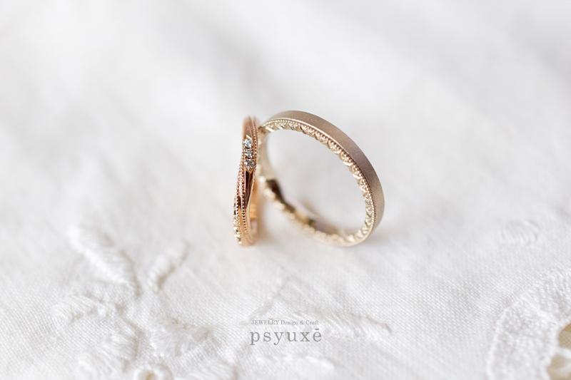 K18ピンクゴールドとK18シャンパンゴールドのオーダーメイドによるご結婚指輪です。