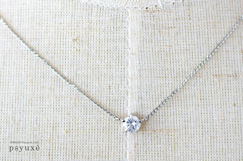 お母様から譲り受けられたプラチナとダイアモンドのネックレスを新しいデザインにリフォームいたしました♪