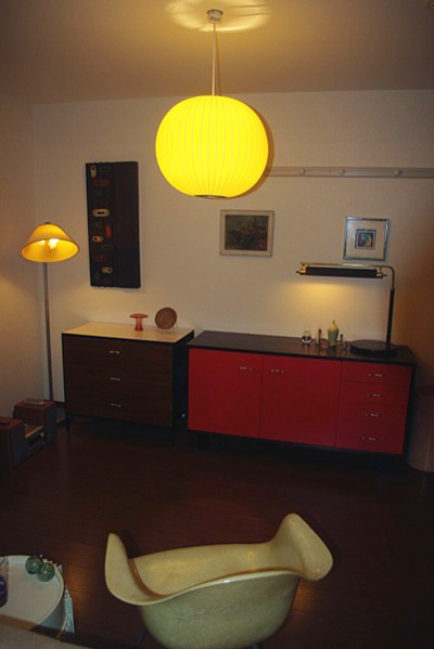 George Nelson Bubble lamp,Steel frame Chest,Basic Cabinet,Nessen Studio Floor lamp,Higgins Glass