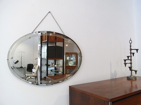 Art Deco Oval Wall Mirror