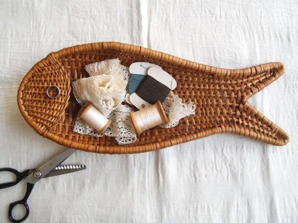 Vintage Fish Rattan Basket