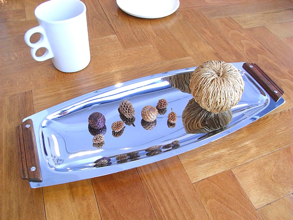 stainless tray teak  kromex