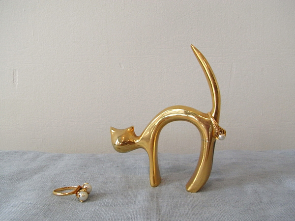brass modern cat ring holder vintage italy