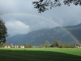 朝早く散歩してると見えた虹