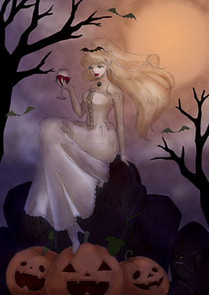 ハロウィン イラスト 花嫁 かぼちゃ