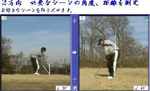 スウィングの軸の角度、距離などを測定します