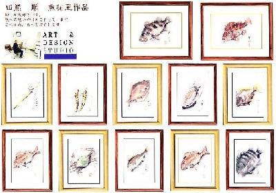 魚拓風魚の水彩画和紙に描いた作品
