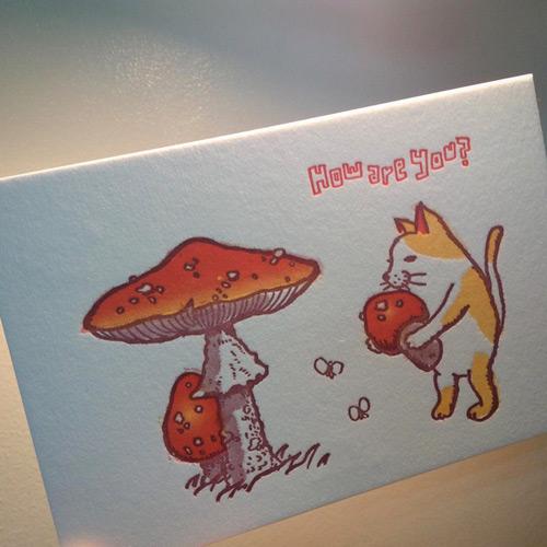 キノコ活版カード