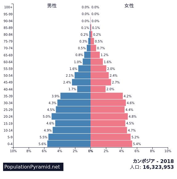 カンボジア 年齢別人口分布