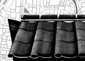 町家猫 瓦屋根