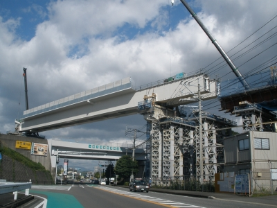 橋桁の大工事