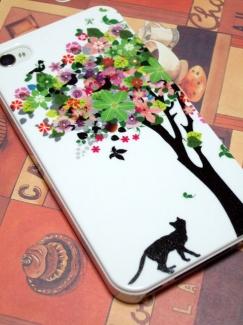SOL21【ケース de ばっちり!スマートフォンの写真】猫と花の木ケース
