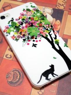 HTL23【ケースで差がつくスマートフォンの写真】猫と花の木ケース