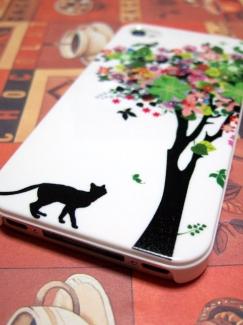 Xperia Z3 Compact SO-02G【ケース de ばっちり!スマートフォン】猫と花の木ケース