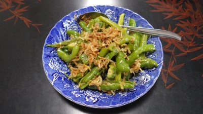 自宅で取れた有機野菜を使った料理:万願寺とうがらし