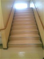階段剥離洗浄後ワックス塗布
