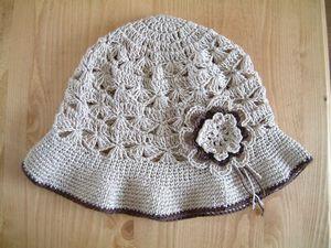すかし編み模様のクロシェの帽子(亜麻糸)