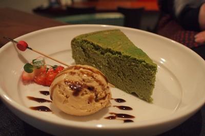 抹茶スフレのチーズケーキ