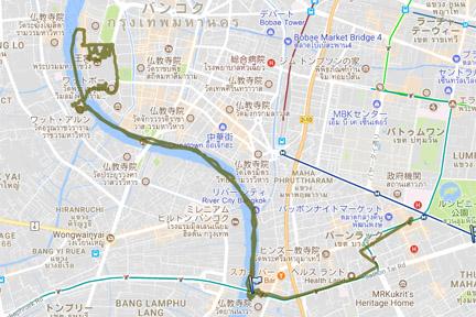 バンコク三大寺院めぐり GPS軌跡
