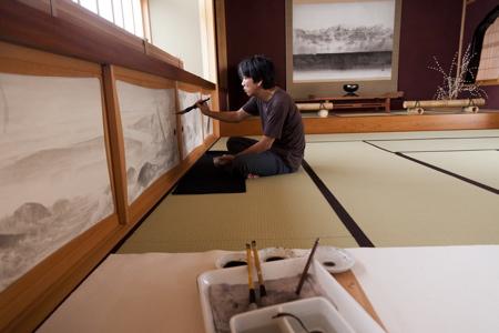 繁久寺襖絵 制作風景