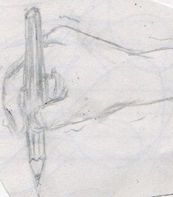 ひじで描くの図