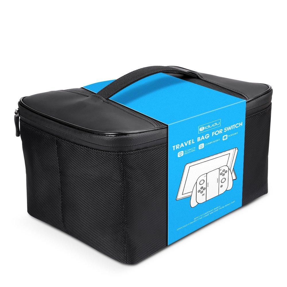 iDudu Nintendo Switch 収納ケース 大容量バッグ (収納ケース, ブラック)