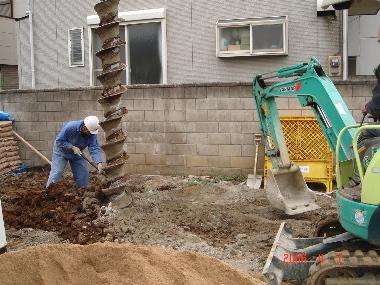 地盤改良工事作業風景