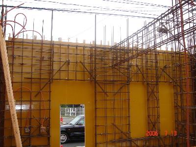 1F壁配筋、型枠工事