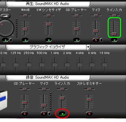 SoundMAXのライン入力設定