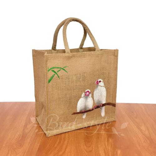 白文鳥のジュートバッグ