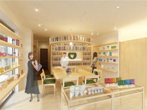 漢方薬店 鹿鳴堂薬舗 夙川店 設計デザイン CGパース