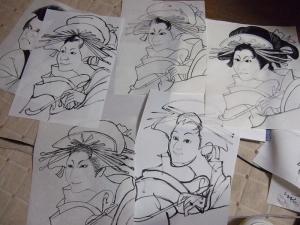 浮世似顔絵下書き、白描画まで