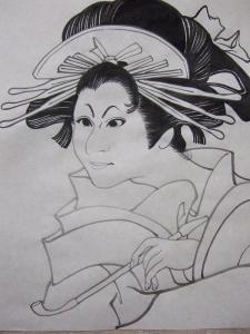 白描画女性、外人さん