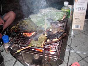 鶏肉の朴葉焼き