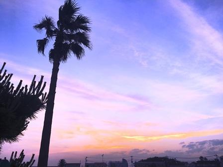 江の島から見た紫色の空