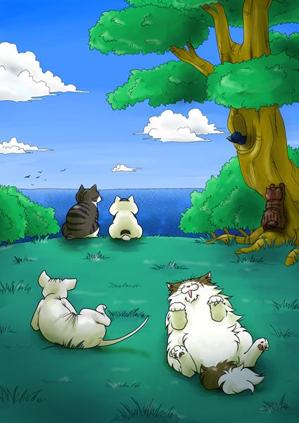 猫たち外で昼下がり