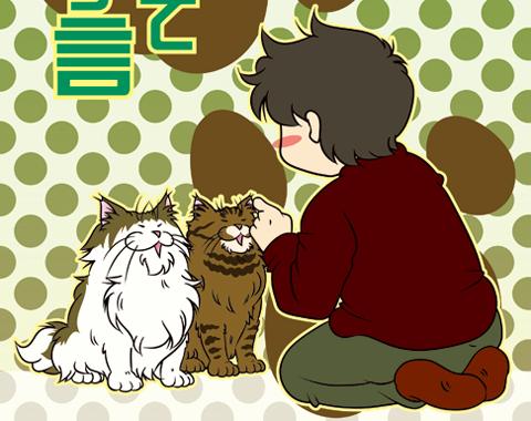 猫に向かって独り言を言う図