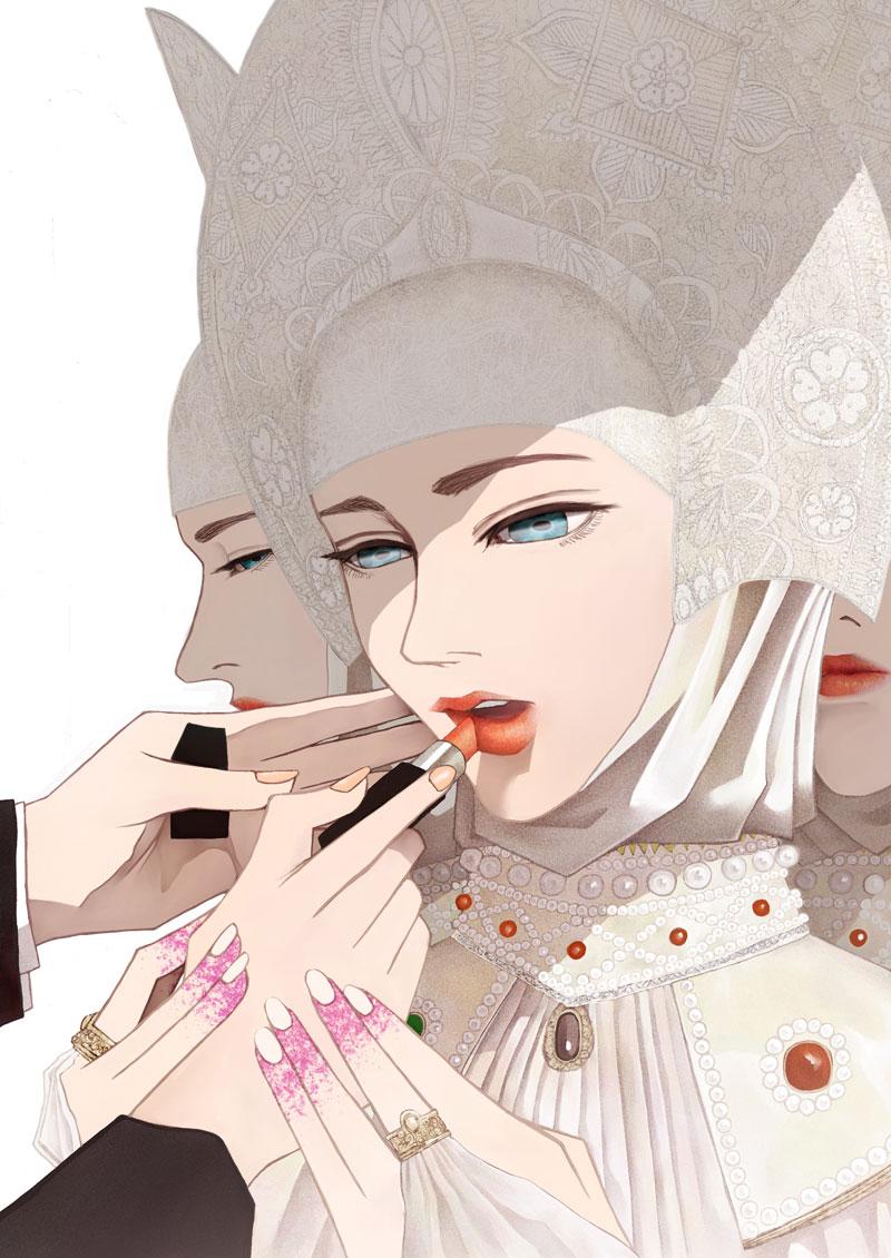 化粧される人